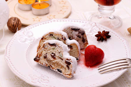 stollen: Christmas stollen cake with strawberry, top view