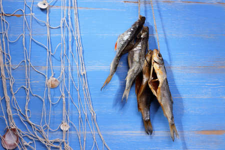 rudd: Dried rudd fish and fishing net on blue background, horizontal