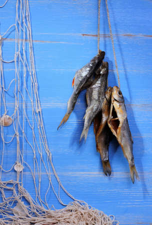 Dried rudd fish and fishing net on blue background, vertical