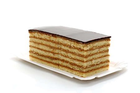 Prince Regent cake, thin layers of biscuit covered with chocolate, isolated Stock Photo