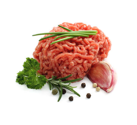 minced beef: Minced meat ball with herbs, isolated
