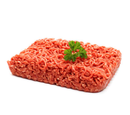 Beef minced meat with parsley, isolated