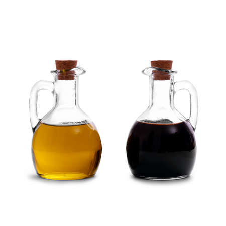 Olive oil with Italian balsamic vinegar of Modena, isolated Stockfoto