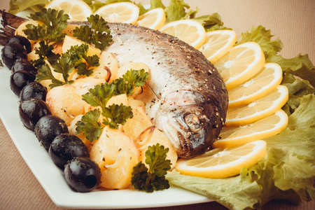 Grilled trout with olive, potato and vegetables, retro toned photo