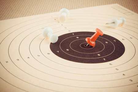 setting goal: Setting goal and win with red pin, business concept, horizontal Stock Photo