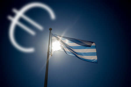 backlighting: Falling euro, greek flag waving before sun on blue sky, illustration