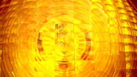 Yellow spotlight traffic light as background, close up