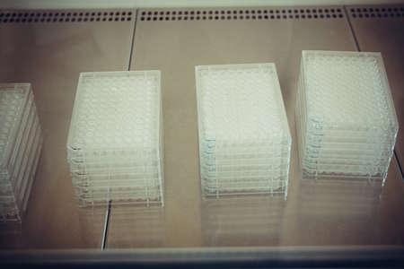 platen: Multiwell platen in flow box as background, soft focus