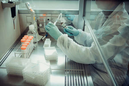 Adults laboratory technician working with multiwell pipette, soft focus Banque d'images