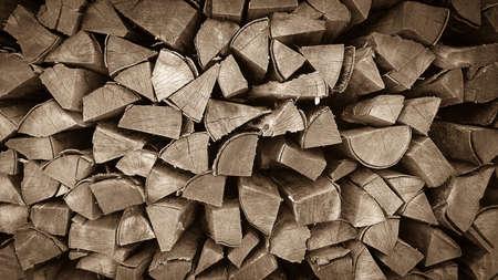 neatly stacked: Neatly stacked wood as background, horizontal Stock Photo
