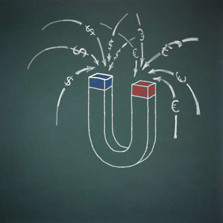thrift: Business concept money magnet on school board, illustration