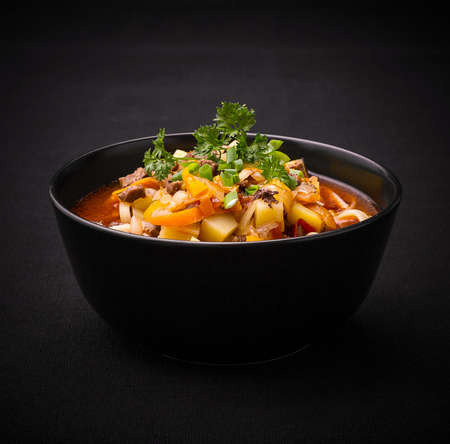 Uzbek noodle soup Lagman on black, close up