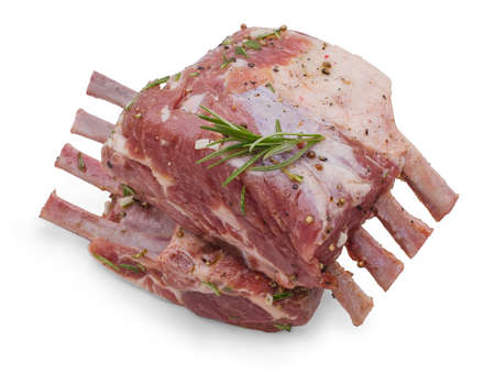 Two marinated rack of lamb in olive oil, black pepper, coriander seeds Stock Photo