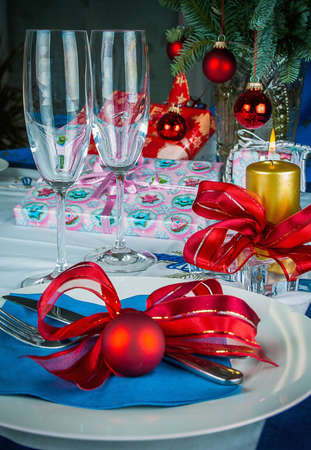Image of Christmas dinner in home, Christmastime table