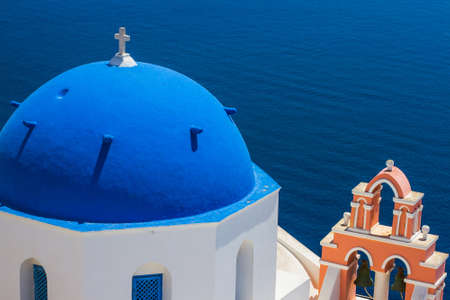 greece: Church Cupola and Tower Bell from Santorini, Greece Stock Photo