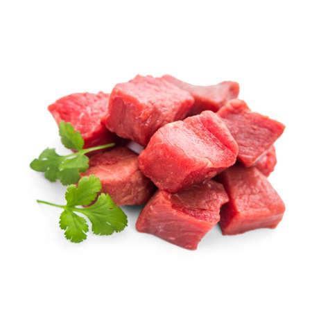 downloaded: Pile of juicy beef cubes, macro, soft focus Stock Photo