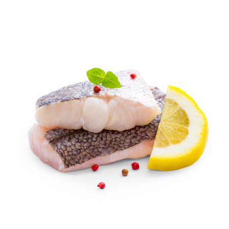 flesh eating animal: Hake fillet with skin and lemon, isolated