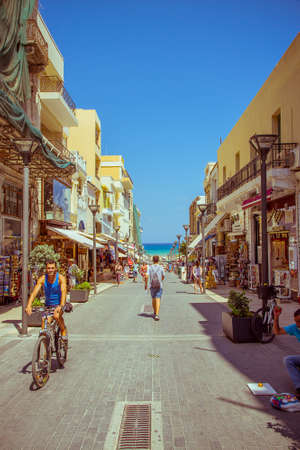 centres: Unidentified people shopping street in Avgoustou on August 25, 2015 in Heraklion. Avgoustou street is one of the most important shopping centres in Heraklion.