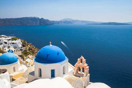domes: Church domes in Oia Santorini in Greece Stock Photo