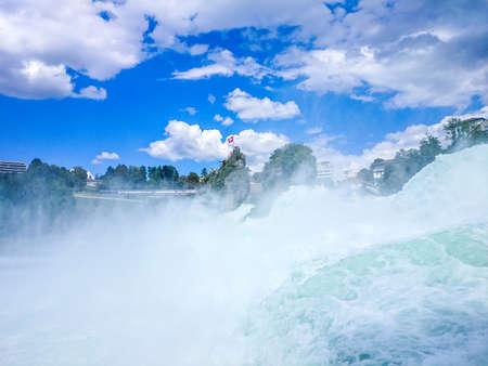 Rhine waterfall in Switzerland, closeup horizontal