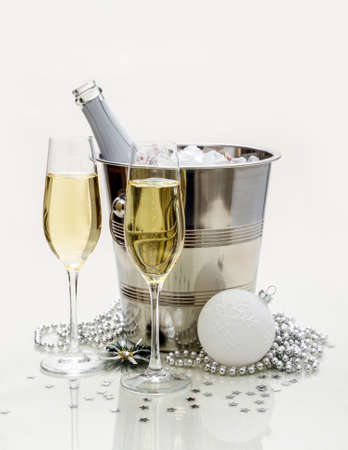 tinted glasses: Two champagne glasses, cooler and gift, stylish tinted Stock Photo