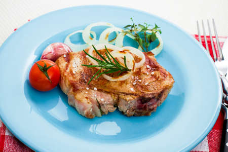 grilled pork chop: Juicy grilled pork chop with onion rings, stylish tinted Stock Photo