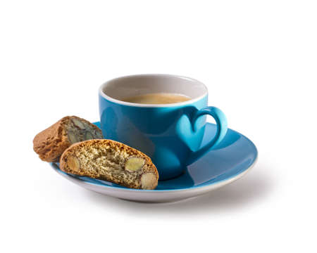 Eespresso and cantuccini with shadow in heart shape, isolated Stock Photo
