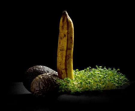Overripe fruits, banana, avocado and maracuja, potenzkonzept