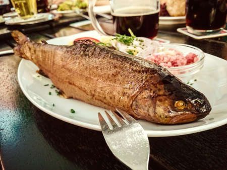 brown trout: Smoked trout whole with horseradish and garnish