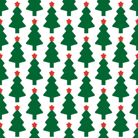 christmas tree illustration: Green fir tree with red star as seamless vector