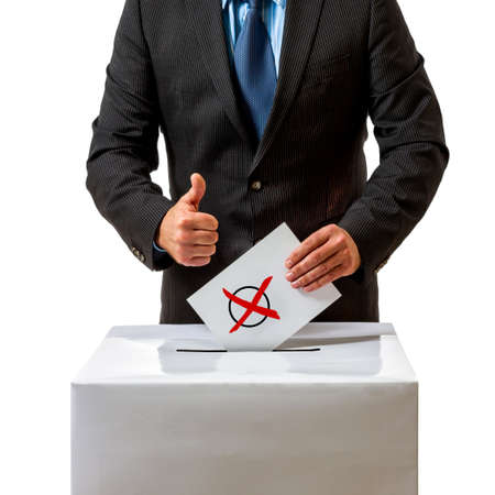 security symbol: Bundestag election in Germany, man with ballot