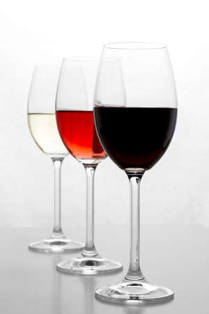 Red, rose and white wine in glass with new perspective