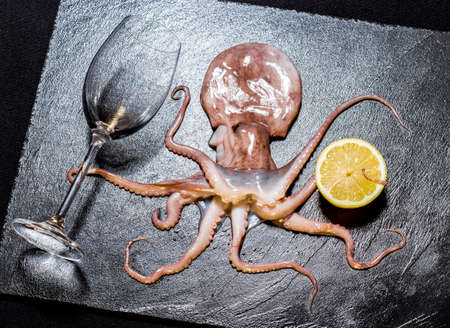 Octopus hold wine, on black slate, top view