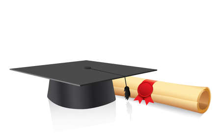 bachelor s degree: Black graduation cap with degree and book Isolated on white Illustration