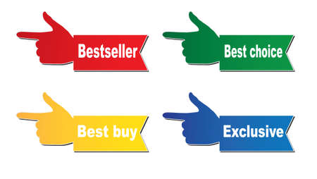 Four stickers - Bestseller, best choice, exclusive, best buy