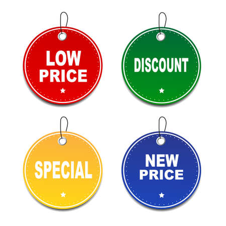 low price: Set of tags - discount,low price,special,new price Stock Illustratie