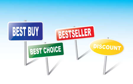 best buy: The four panels - best buy, best choice,bestseller,discount. Illustration