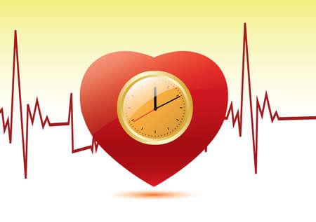 Clock in a heart. Vector Illustration