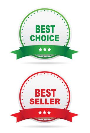 seller: labels - Best seller, Best choice. Vector