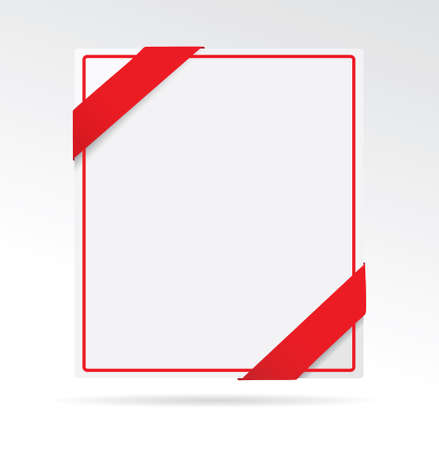 red sign: A sheet of paper with red ribbon. Vector