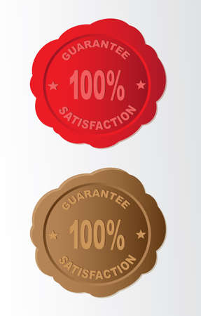 old letters: Vector wax seal - 100 guarantee and satisfaction