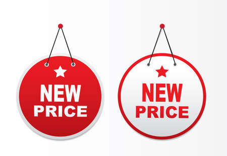 tape marker: 2 panels with text - New price. Illustration