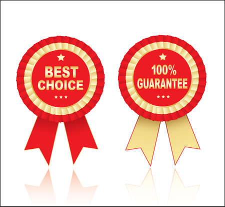 red stamp: Labels - best choice and 100 guarantee