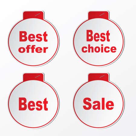Four stickers - best offer,best,sale,best choice Illustration