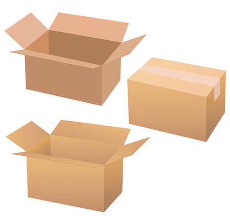 Cardboard boxes isolated on white. Illustration