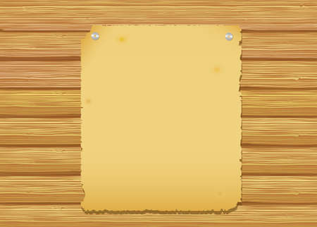 text message: Old paper on a wooden wall. Vector