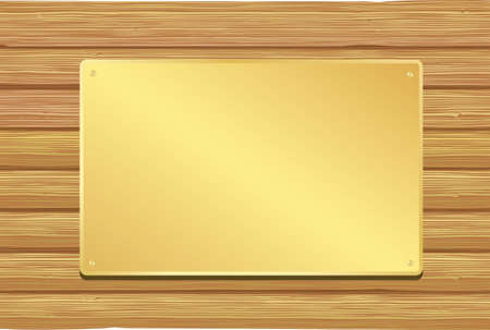 log wall: Golden plate on wooden background. Vector