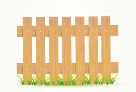 boarded: Wooden fence. Vector