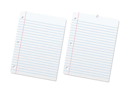 lined paper: Blank lined paper sheets or notepad pages. Vector