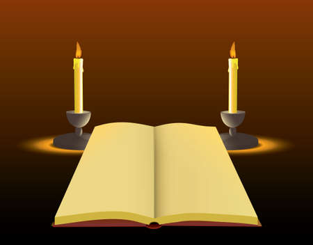 candlelit: Background with old paper and candle.